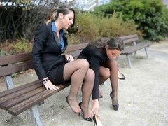 2 youthful sexy secretaries in vintage stockings and besides garterbelt