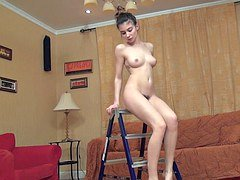 Slender teen sensual babe fingers her hairy pussy