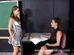 Milf spanking schoolgirl butt