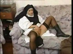 Breasty granny shows big-breasted nun how to have an intercourse and moreover gets it in the tush
