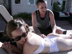 Tanning sweetie Casey Calvert fucked up the bum by a big penis