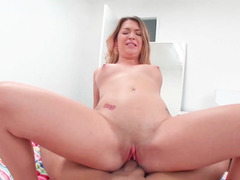 Dame in red is licking a cock and riding it