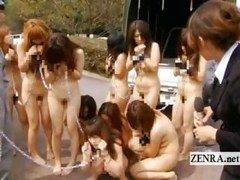 Nudist BDSM Japanese slaves arrive at bizarre ranch