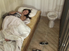 Solo video with Anina Silk that wakes up in cage and masturbates