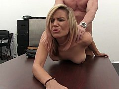Blonde Sexually available mom loves to fuck on couch and table