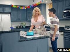 Mom team-fucked and furthermore DP fucked at this birthday party