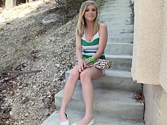 Beautiful blonde 18-19 y.o. posing before anal