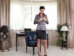 Classy woman does a slot and erotic striptease for us and she jacks off