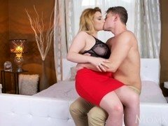 MOM Fleshy natural milk sacks MILF loves to play with younger guys big cock