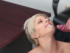 A skinny chick with small tits is getting fucked hard on the desk