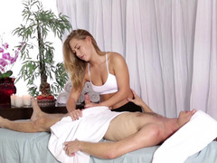 Hot bitch is getting her pussy fucked during a nice massage