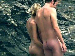 Public voyeur clip is showing a hot chick lying on nudist beach