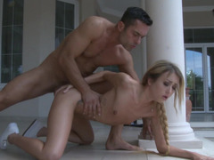 A blonde that loves anal sex is getting a big dick in her behind