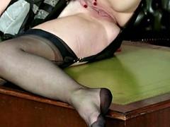 hot big-breasted natural brunette wanks in vintage nylon underwear