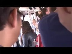 A smoking hot blonde is forcefucked in a bus