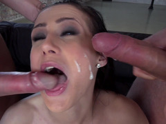 Both holes of busty Nicole Love were penetrated in hardcore MMF