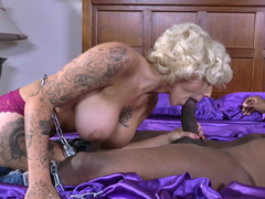 Curvy blonde is caught having interracial sex with a black dude