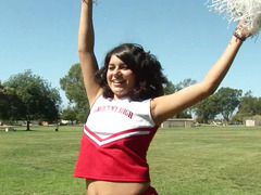 A really awesome cheerleader is fucking in the locker room