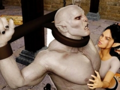 3D Elf Domme Ruined by Angry Orc!