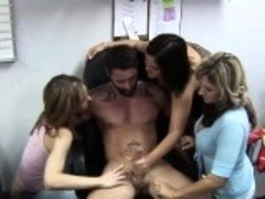 Hot models pleasure a throbbing meat pole