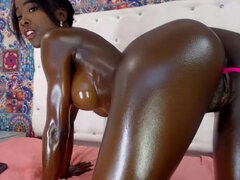godess ebony - beautiul young black girl with oiled up body on webcam