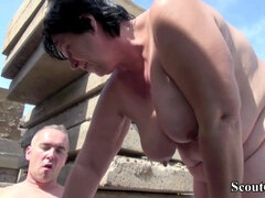Old ugly mature granny with big saggy tits crewed outdoors
