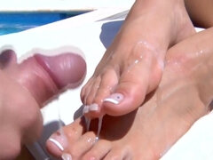 Sissy slut eats pussy & cums all over femdom feets
