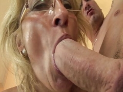 Excited grandma enjoys anal licking with stepson