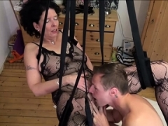 German Step-Son Make love Mother with Stockings in Enjoy Swing