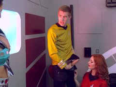 A Star Trek parody is featuring a hot threesome with two girls