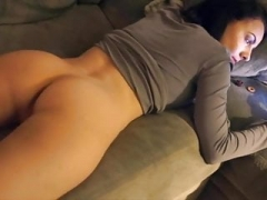Insanely hot kitten farting on her couch