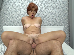 Hairy granny pussy filled over and over by a young dick