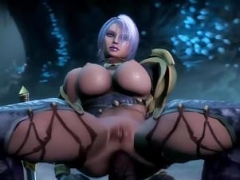 Huge boobs 3D babe fucked by different toons