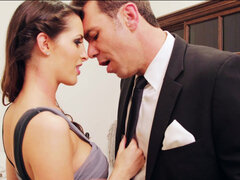 Kortney Kane sneaking away from the wedding party and finding an empty room to fuck in