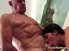 Brunette Alexis Loves Gramps Big Cock