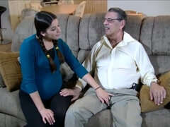 horny preggo fucks with granddad