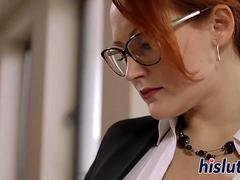 Two luscious office sluts fuck each other