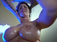 Sloppy MILF with super jugs Reagan Foxx gets deepthroated and fucked