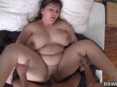 Pervert guy banged extremely fat mature on the bed