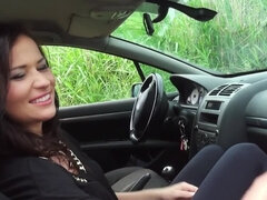 Brunette girl gets a car trouble and ends up sucking the dick