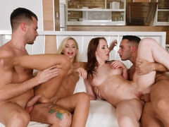 Beautiful European girls have a hardcore foursome