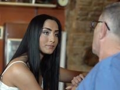 DADDY4K. Immature girl and besides boyfriends daddy establish sensual sex in bar