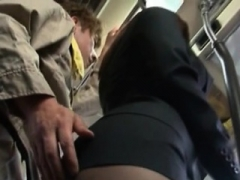 Babe dozes off and gets totally used in public transport