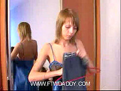 Petite Young Skinny Daughter Trying dress Of mom Made dad Horny