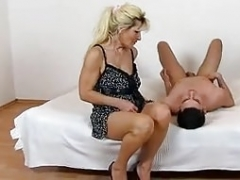 Hot legs stockings and moreover face-sitting feat. MILF Beate