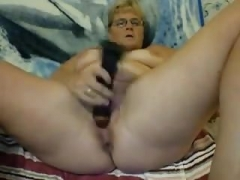 blond haired grown-up nympho used huge toy