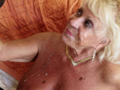 Blonde granny Mandi McGraw getting fucked by young black stud