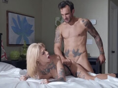 Dirty tattooed babe likes fucking rough with hung boyfriend