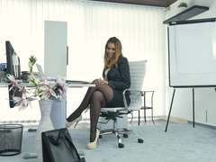 Office masturbation with Ani
