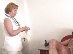 Grown-up nurse takes genital temperature and fucks her patient